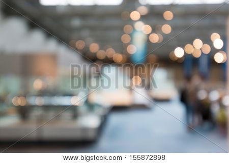 Background Blur Of Car In Showroom. Abstract Interior Office With Car. Shallow Depth Of Focus.