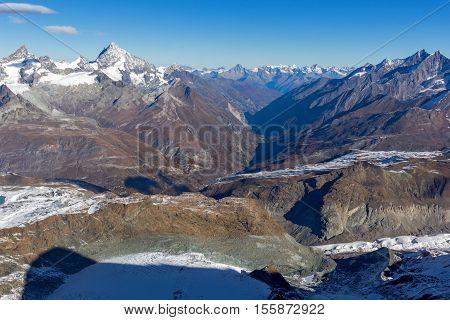 Panoramic view to Zermatt Resort, Alps, Canton of Valais, Switzerland