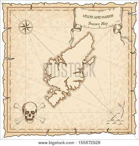 Lewis And Harris Old Pirate Map. Sepia Engraved Parchment Template Of Treasure Island. Stylized Manu