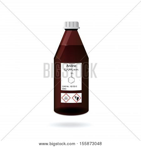 Chemical bottle with aniline solvent lab glassware 3d vector illustration isolated on white background eps 10