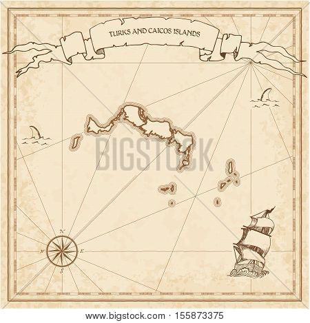 Turks And Caicos Islands Old Treasure Map. Sepia Engraved Template Of Pirate Island Parchment. Styli