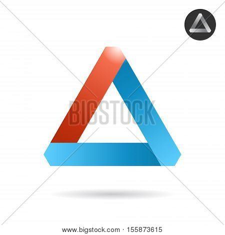 Delta letter logo in ribbon style 2d vector logo illustration isolated on white background eps 10