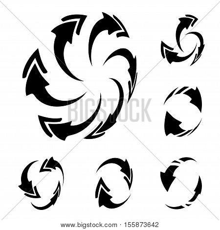 Vector black 3D circular arrows on white background - illustration