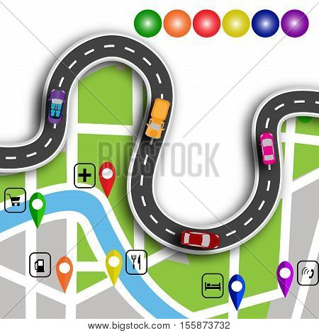 Road infographics. Winding road with 3d signs. The path specifies the location on the map navigator. Vector illustration