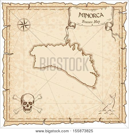Minorca Old Pirate Map. Sepia Engraved Parchment Template Of Treasure Island. Stylized Manuscript On
