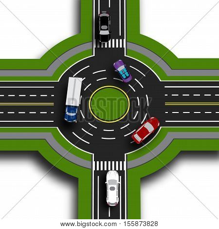 Road infographics. Top view 3d perspective. Road interchange, roundabouts. This shows the movement of cars. Sidewalks and crossings. Vector illustration