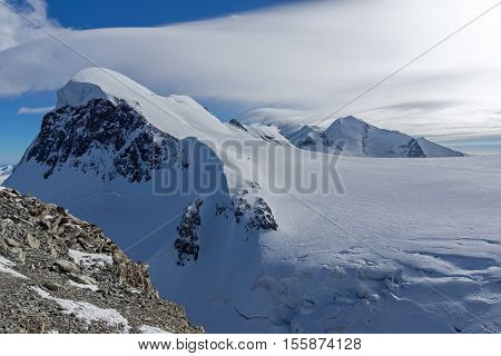Winter Landscape of swiss Alps and mount Breithorn, Canton of Valais, Switzerland