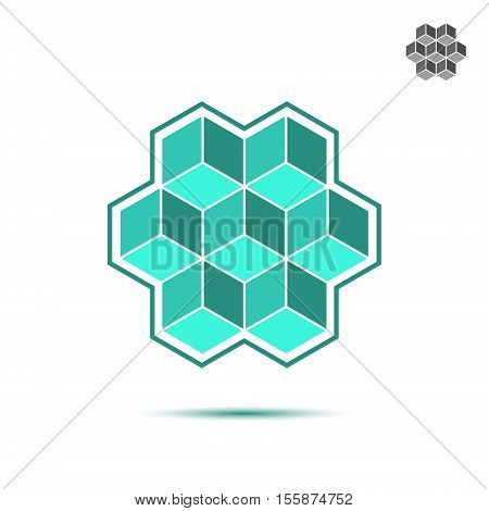 Cubic logo template brickwork concept 3d illustration 3d isometric vector illustration isolated on white background eps 10