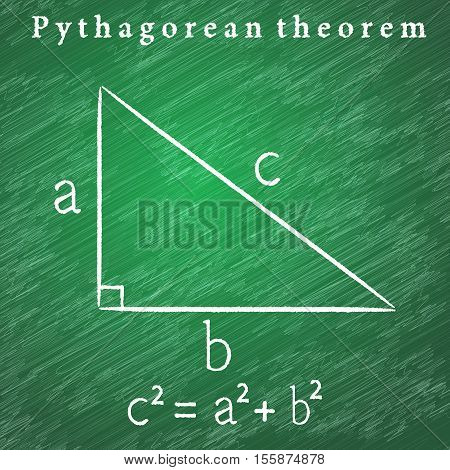 Triangle on the blackboard Pythagorean theorem illustration 2d vector educational illustration eps 10