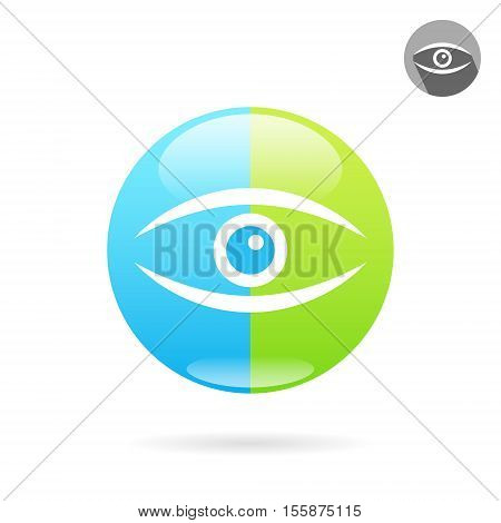 Human eye icon on medical round plate concept of eye medical treatment 2d vector illustration isolated on white background eps 10