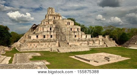 Maya Edzna complex the Temple five floors. Yucatan Campeche Mexico.