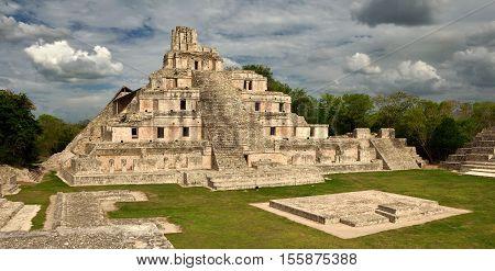 Maya Edzna complex the Temple five floors. Yucatan Campeche Mexico.