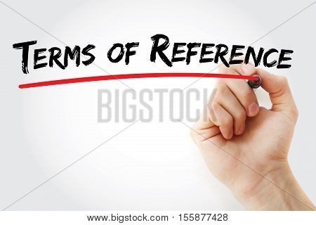 Hand Writing Terms Of Reference With Marker