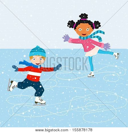 Winter scene with skating children. Illustration of kids having fun in the winter skating rink. Children boy and girl on the winter ice-skating rink. vector illustration