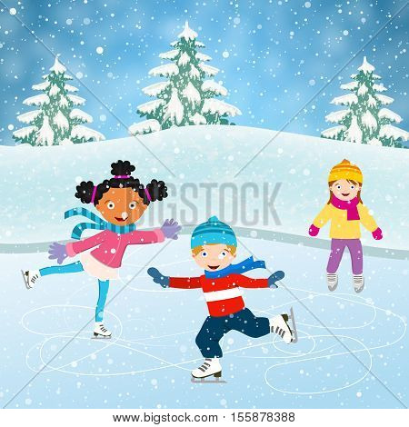 Winter scene with skating children. Illustration of kids having fun in the winter skating rink. Children boy and girl on the winter ice-skating rink. vector illustration