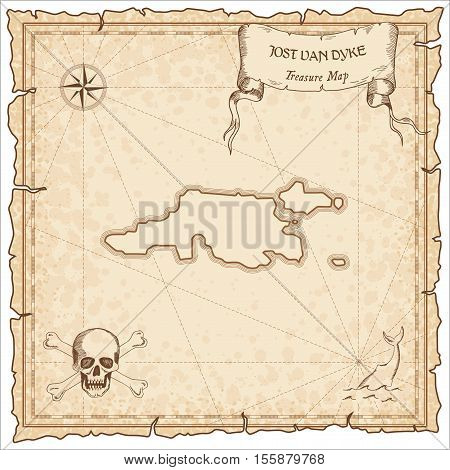 Jost Van Dyke Old Pirate Map. Sepia Engraved Parchment Template Of Treasure Island. Stylized Manuscr
