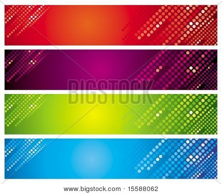 Four multi-coloured banners