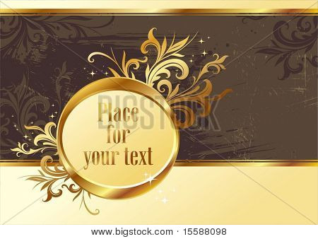 Vintage gold frame for text