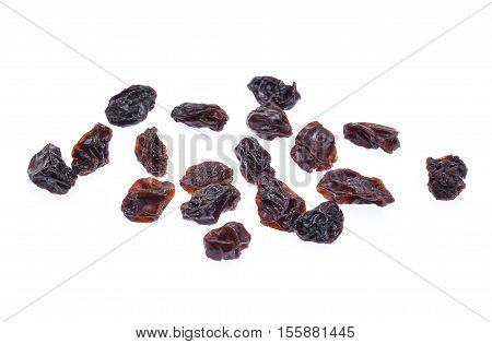 dried raisins isolated on the white background