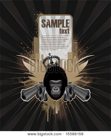 Frame for text with gangsta gorilla