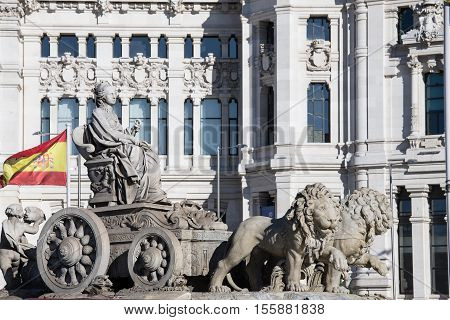 Cibeles Fountain located downtown Madrid Spain, famous fountain.