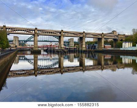 NEWCASTLE - NOVEMBER 9: Bridges across The River Tyne on November 9, 2016 in Newcastle, UK.
