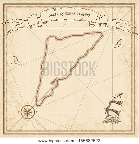 Salt Cay, Turks Islands Old Treasure Map. Sepia Engraved Template Of Pirate Island Parchment. Styliz