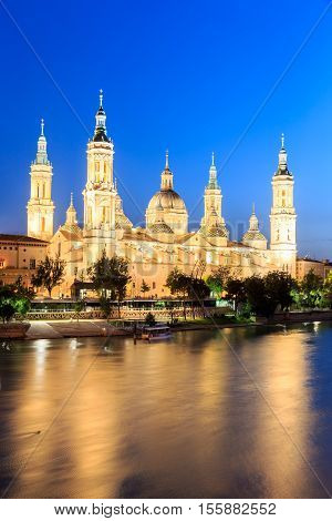 Great evening view of the Pilar Cathedral in Zaragoza Spain