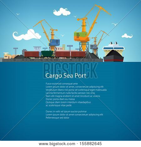 Unloading Coal or Ore from the Dry Cargo Ship, Sea Freight Transportation, Cargo Transport, Port Warehouses and Cranes and Train, Poster Brochure Flyer Design, Vector Illustration