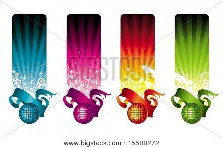 Multicolored disco banners