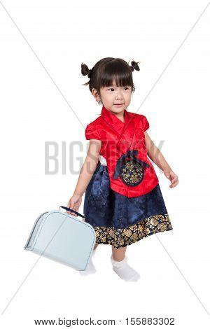 Cute Asian Korean kid in traditional costume