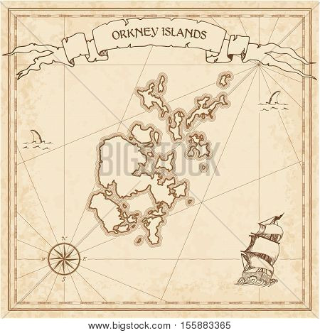Orkney Islands Old Treasure Map. Sepia Engraved Template Of Pirate Island Parchment. Stylized Manusc