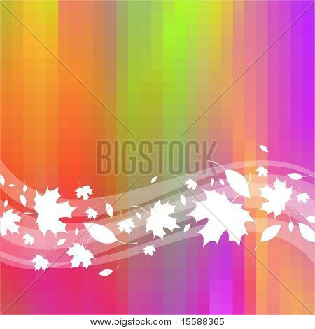 Colorful background with waves & maple leaves