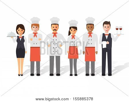 Group of head chefs man and woman chefs sommelier and waitress. Restaurant team concept. Flat design people characters.