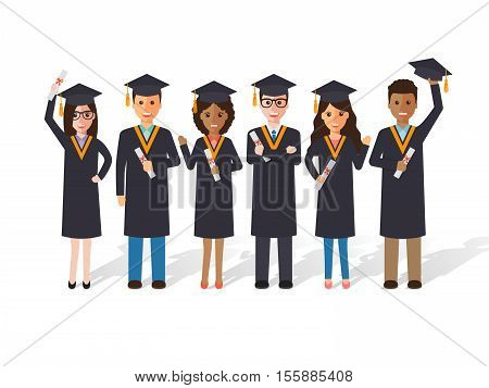 Group of diverse school college and university graduation students and scholars. Flat design people characters.