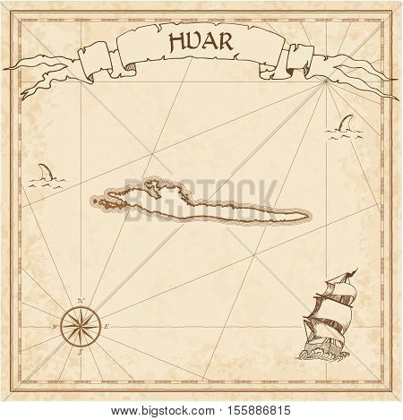 Hvar Old Treasure Map. Sepia Engraved Template Of Pirate Island Parchment. Stylized Manuscript On Vi