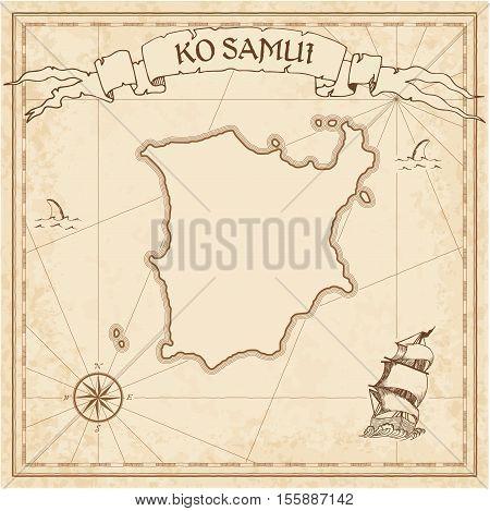 Ko Samui Old Treasure Map. Sepia Engraved Template Of Pirate Island Parchment. Stylized Manuscript O