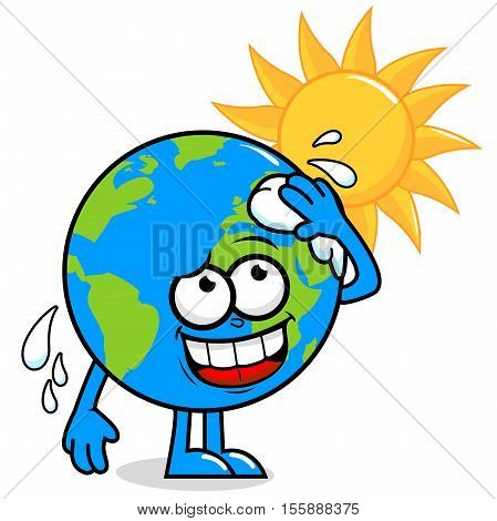 Cartoon planet earth character in front of a burning sun wiping sweat and getting hot.