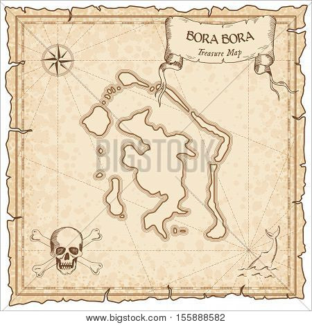 Bora Bora Old Pirate Map. Sepia Engraved Parchment Template Of Treasure Island. Stylized Manuscript