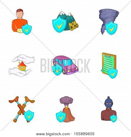 Incident icons set. Cartoon illustration of 9 incident vector icons for web