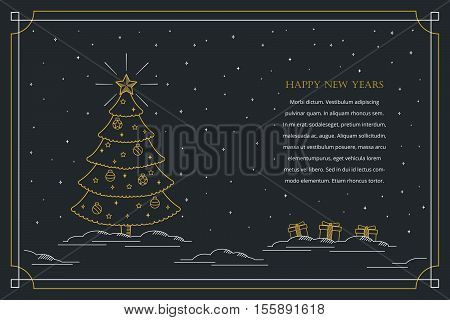Merry Christmas banner in outline linear style. Christmas greeting card. Christmas postcard with Xmas tree in simple gold outline style.
