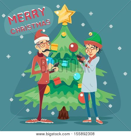 Christmas Tree Happy Smiling Male Female Geek Hipster Symbol Online Mobile Chat Icon Stylish Background Retro Cartoon Design Vector Illustration