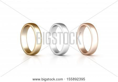 Rings set stand isolated golden silver pink gold jewelry clipping path 3d rendering. White gold wedding ciclet with micro scratches. Yellow siller and rose gift metal circles.