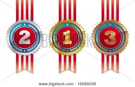 Three americans medals - gold, silver and bronze
