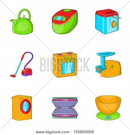 Appliances icons set. Cartoon illustration of 9 appliances vector icons for web