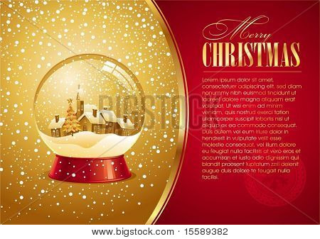 Christmas card with snow globe