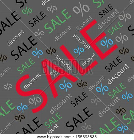 Seamless pattern. Sales signs and discount design. Vector illustration.