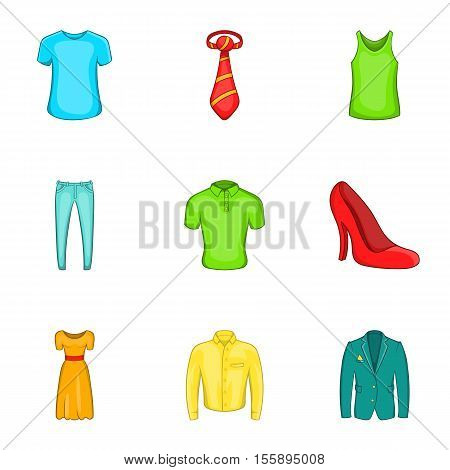 Outfits icons set. Cartoon illustration of 9 outfits vector icons for web