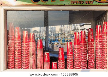 Coca Cola Paper Cups On Display Window