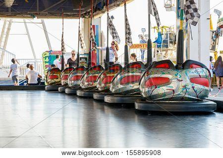 Dodgems At The Funfair On Brighton Pier